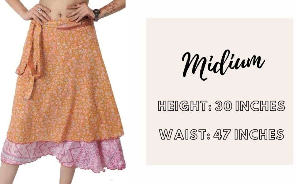 midi wrap skirt size chart
