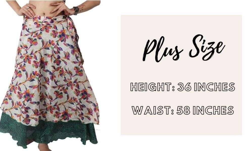 plus size wrap skirt size chart