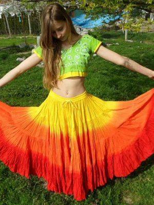 yellow orange skirt