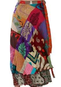 patch wrap skirt