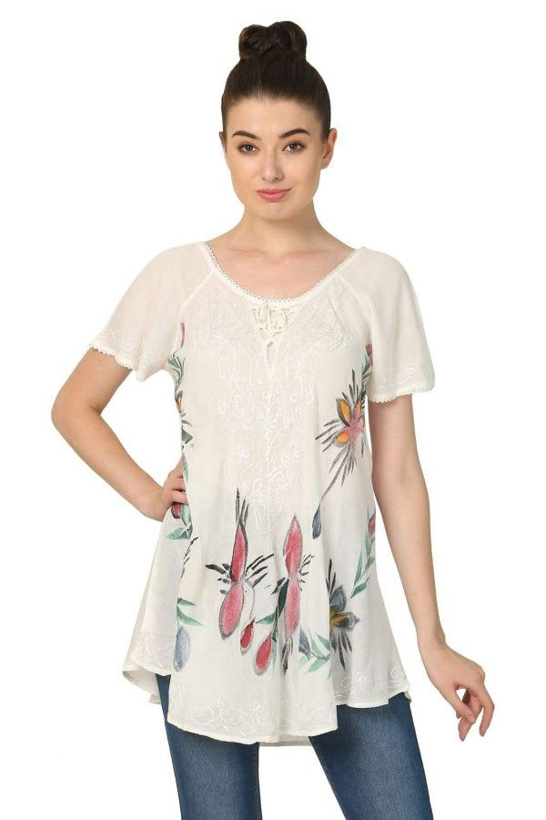 Ladies Wholesale Clothing Umbrella Tops with Colour Flowers Pack