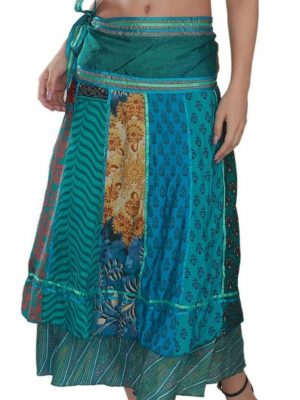 Pack of Long Bohemian Wrap Around Art Satin Line Silk Skirts