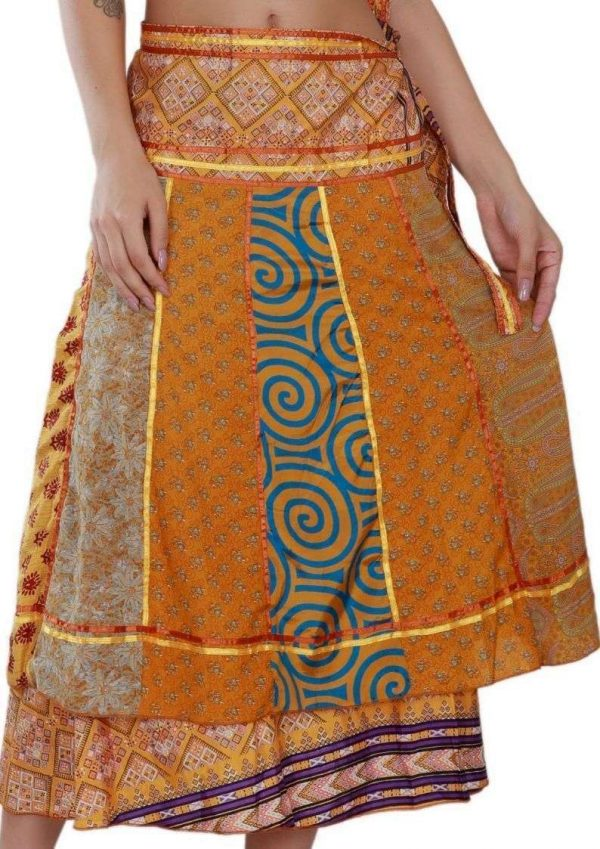 Pack of Long Bohemian Wrap Around Art Satin Line Silk Skirts