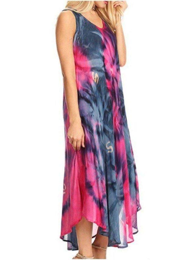 Pack of Wevez Sleeveless Women Long Tie Dye Dress