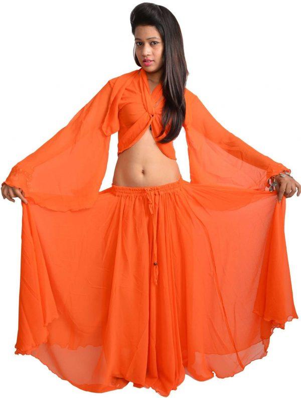 USA Only Sale - Orange Colour Chiffon Top and Skirt Set
