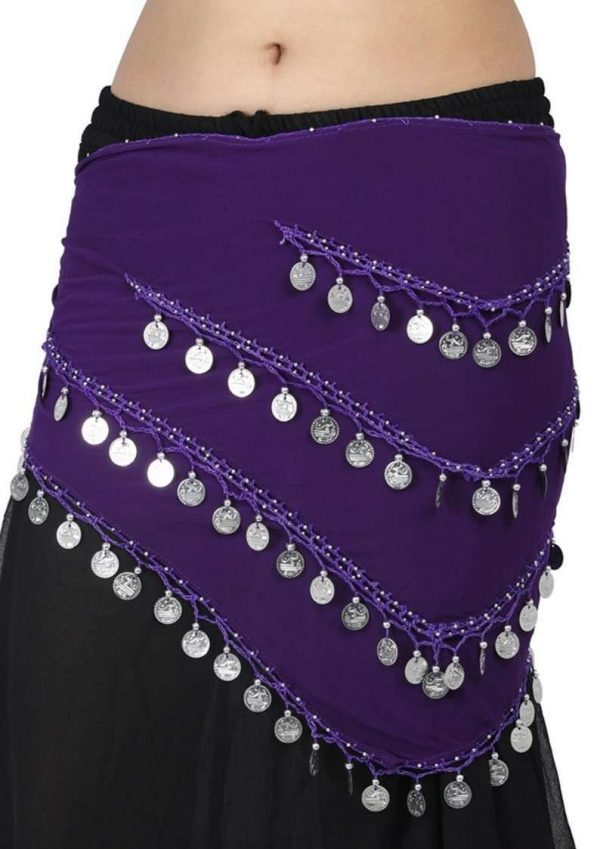 Wevez 12 Belly Dance Fusion Long Belly Dance Hip scarf with Coins