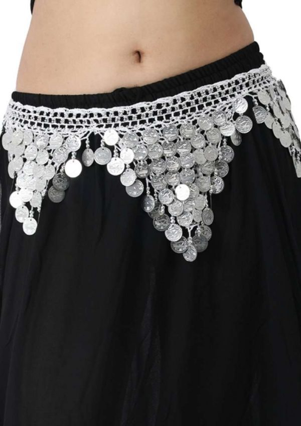 Wevez 12 Pcs Silver Coins Gorgeous Belly Dancing Heavy Carotia Hip Scarves