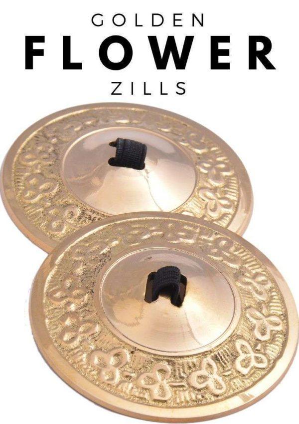Wevez 2 pairs Gold Flower Professional Belly Dance Zills - 4 pcs