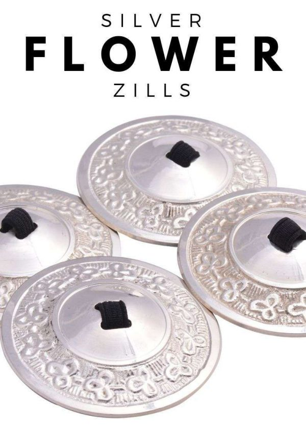 Wevez 2 pairs Silver Flower Professional Belly Dance Zills - 4 pcs