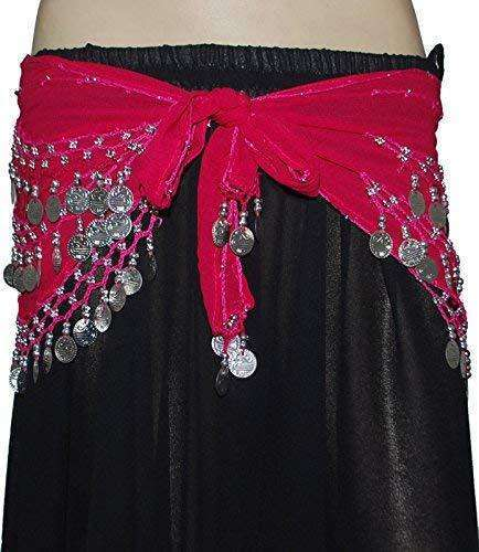 Wevez American Tribal Belly Dance Costumes Hip Scarfs with Silver Coin