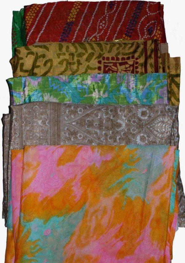 Wevez Artwork Vintage Sari Silk Fabric - 5 pcs,