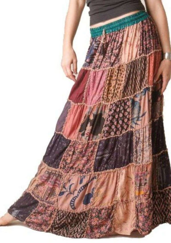 Full Length Elastic Pleated Tiered Maxi Long Patch Skirts Pack