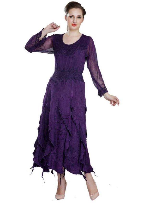 Wevez Full Sleeve Flared Maxi Corset Dress