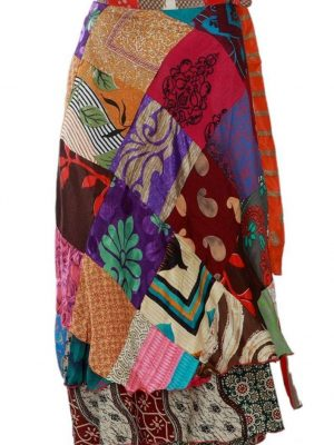 "Pack of Long 36"" Patchwork Sari Wrap Skirts for Women"