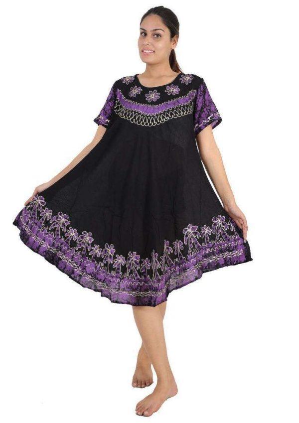 Wevez Pack of Batik Clothing Short Sleeve Caftan Dress/Cover Up