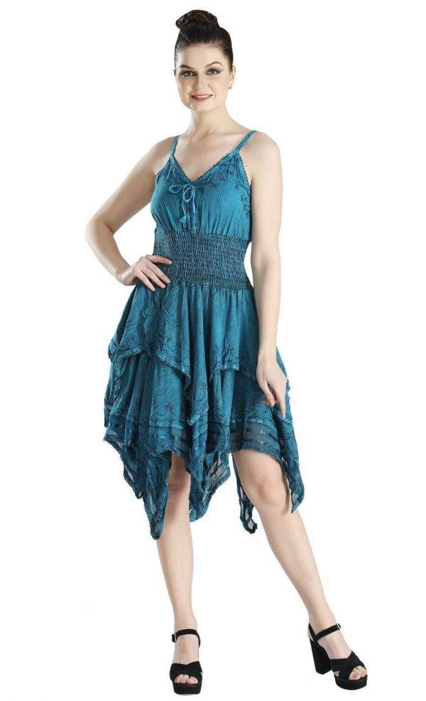Wevez Sleeveless Plain embroidered Casual Beach Mini Dress
