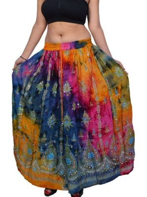 Pack of Tie Dye Sequin Long Maxi Embroidery Skirt