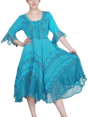 Wevez turquoise Colored women Maxi Dress with long Sleeves