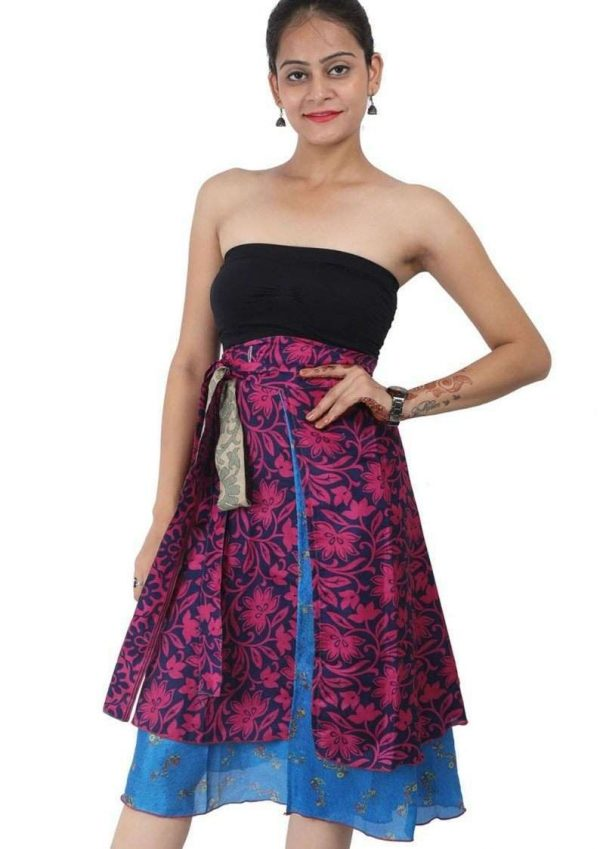 Pack of Two Layer Magic Silk Wrap Around Skirt / Dress