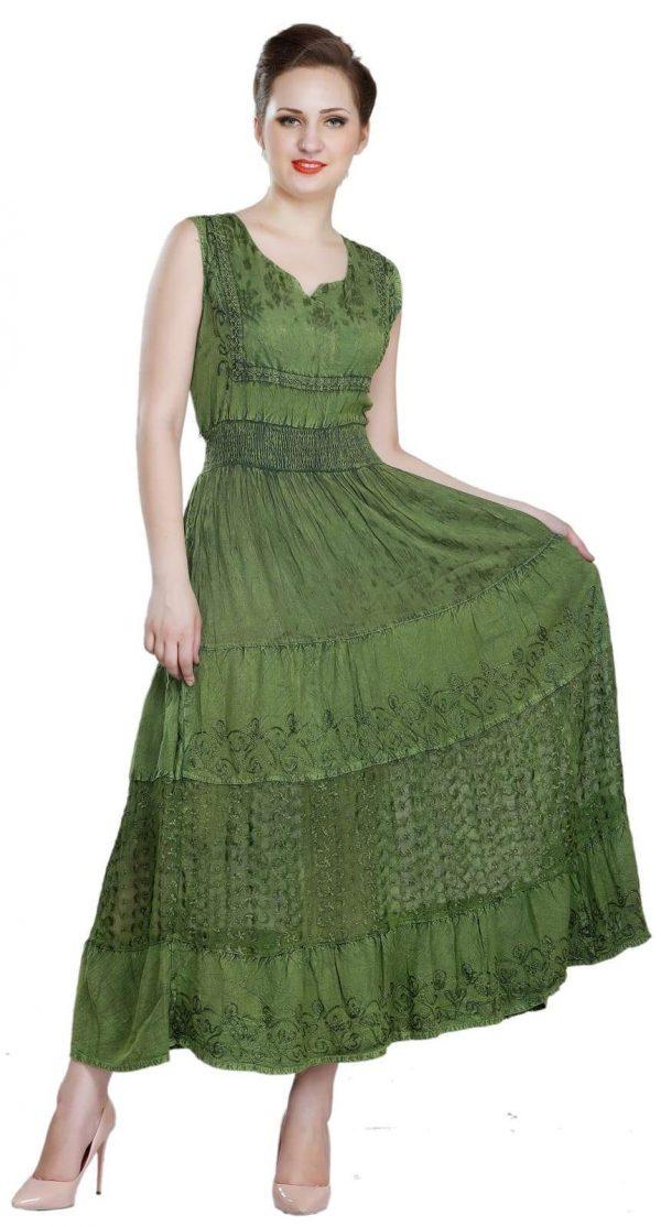 Wevez Wide Straps Flared Evening Maxi Dress