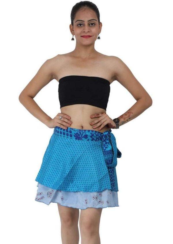 Wevez Women's Beachwear Sari Skirt, Mini Length, Assorted