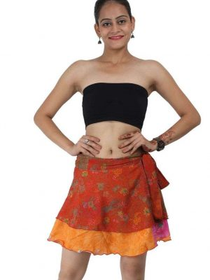 Wevez Women's Beachwear Sari Skirt, Mini Length, Assorted