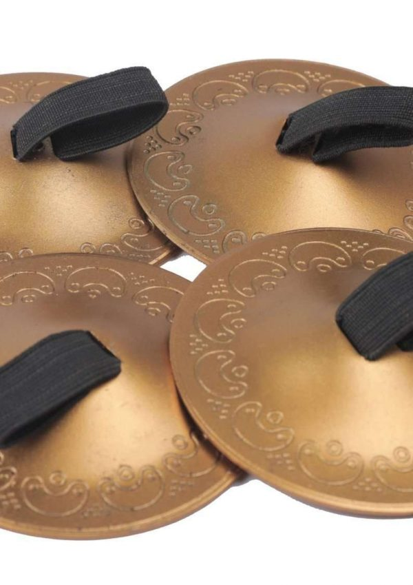 Wevez Women's Belly Dance Finger Cymbals 4 Piece Set, One Size, Golden