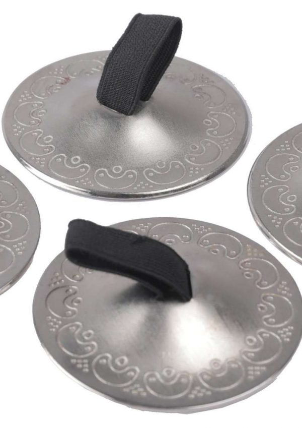 Wevez Women's Belly Dancing Finger Cymbals 4 Piece Set, One Size, Silver