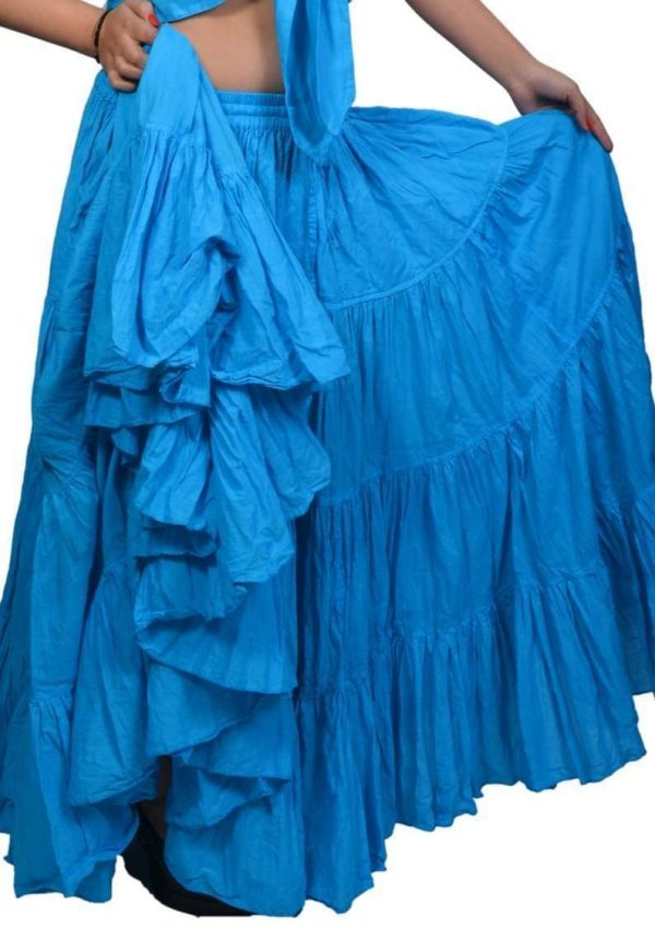 Wevez Women's Gypsy 25 Yard Solid Color Cotton Skirt