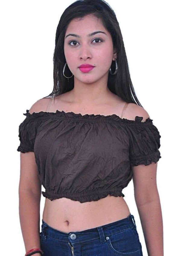 Wevez Women's Pack of 3 of Belly Dance Cotton Puff Tops, Assorted