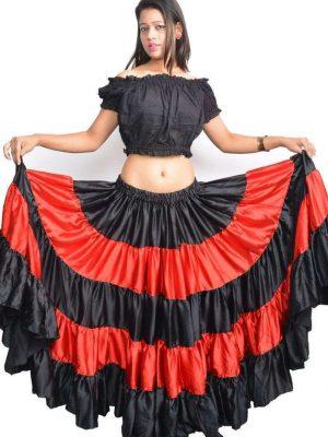 Wevez Women's Satin Flamenco Dance 25 Yard skirt, One Size