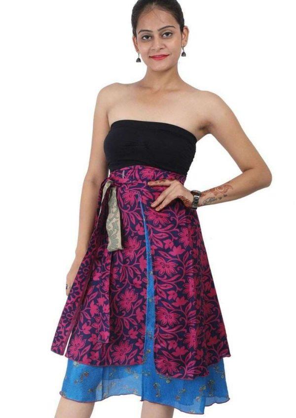 Wholesale Lot of 10 Pcs Indian Printed Reversible Art Silk Wrap Around Skirts