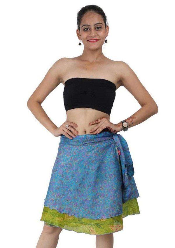 Wevez® Women's Short Silk Sari Wrap Reversible Skirt, One Size, Assorted