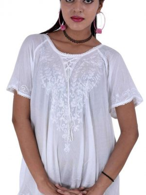 White Embroidered Peasant Top for Women-10 pcs