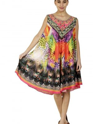 Wevez Pack of 03 Knee Length Digitally Printed Dresses