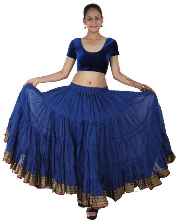 Wevez 25 Yard Padma Cotton Tiered Flounce Maxi Full Skirt