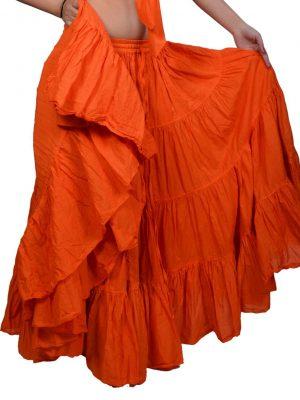 orange color cotton skirt